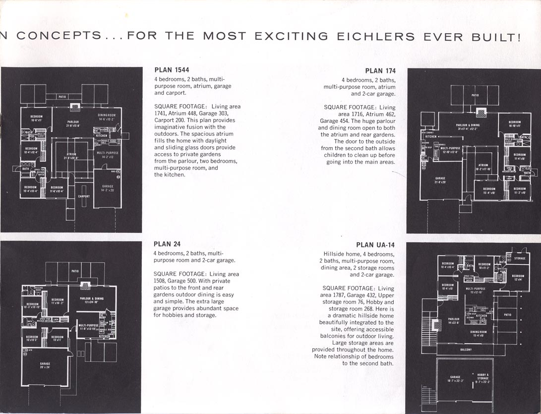 Eichler brochures laurel hill Eichler atrium floor plan